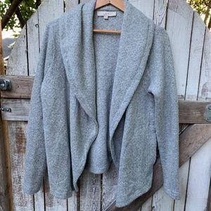 LOFT   Gray Knit Open-front Cardigan Sweater